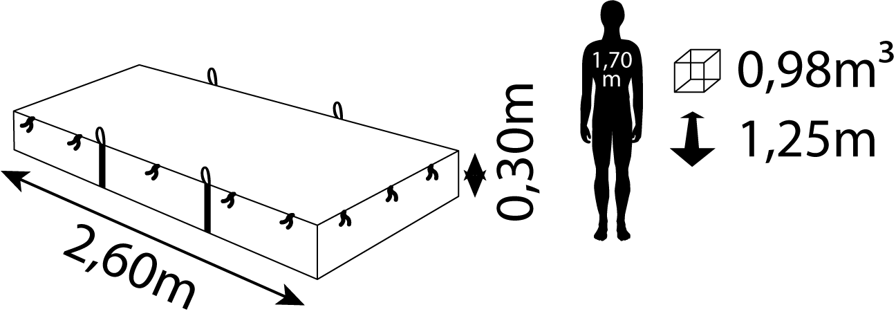 Containerdienst Containermaße: 2,60 x 0,30 x 1,25