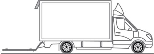 Fahrzeug Stückgut-LKW mit Hebebühne zur Entsorgung / Container Transport